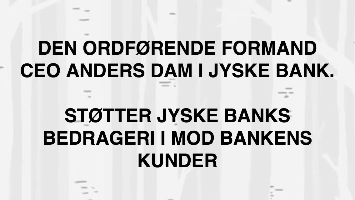 Hvorfor Bestyrelsen udsætter aktionærerne i jyske bank for denne her bedrageri sag   Det må i spørger Anders Dam Om   OM JYSKE BANKS MEDARBEJDER OG KONCERN LEDERNE KENDER TIL ÆRLIGHED HÆDERLIGHED TROVÆRDIGHED   ?  PAS  det er et svært spørgsmål   https://www.jyskebank.dk/omjyskebank/organisation/koncernledergruppe :-)  DEN DANSKE BANK, JYSK EBANK UNDERSØGES FOR IMOD BANKENS KUNDE   Svindlen kunne lade sig gøre, da udnyttelsen blev lagt ind og sat i system, mens kunde var langtidssyg efter blandt andet en hjerneblødning   Og her efter var kunden er nemt offer for jyske banks ansatte, som sikkert troede det var et tag selv bord.  MEN JYSKE BANKS ANSATTE  HELT OP TIL KONCERNLEDELSEN TO GRUELIG FEJL AF DERES OFFER     SOM BÅDE KOM SIG OG OPKLAREDE BEDRAGET    At Jyske Bank ved manipulation, og kraftig vildledning kunne snyde og bedrage kunde, var så perfekt udført  at selv ikke kundes advokater fatted, den mindste mistanke, til at jyske bank lavede svig, ved at lyve om lån der ikke fandtes, og har fjernet bilag samt misbrugt bilag, ændret i bilag   - HVAD SKAL VI GØRE; JO VI RÅBER OP OG VIL HAVE EN DOM OVER JYSKE BANK FOR SVIG   :-) § 279. For #bedrageri § 280. For #mandatsvig § 281. For #afpresning § 282. For #åger § 283. For #skyldnersvig  Kunde der er blevet udsat for bedrageri gennem 10 år af jyske bank, fortæller hvordan han har forsøgt at få koncernledelsen i jyske bank til at tale med ham  Alle i koncernen nægter at svare,  men vælger at fortsætte dette meget grove bedrageri, selv om ledelsen mindst har været bekendt med svindel i over 2 år.    Et #bedrageri som den samlede koncern ledelse ikke tager afstand fra, og derfor støtter bestyrelsen fortsat bedrageri af lille #virksomhed  :-)  #Bestyrelsen i #jyskebank   #SvenBuhrkall #KurtBligaardPedersen #RinaAsmussen #PhilipBaruch #JensBorup #KeldNorup #ChristinaLykkeMunk #JohnnyChristensen #MarianneLillevang #AndersDam #NielsErikJakobsen #PerSkovhus #PeterSchleidt  #Nykredit #MetteEgholmNielsen Siger de ikke vil lev
