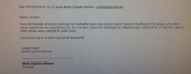 Kunden som gennem 3 år forsøgte at få akt indsigt, hvilket Jyske Bank nægtede ham, måtte stævne Nykredit for at få svar på om dette påstået tilbud på 4.328.000 var hjemtaget  Siger bare der ikke findes noget lån.